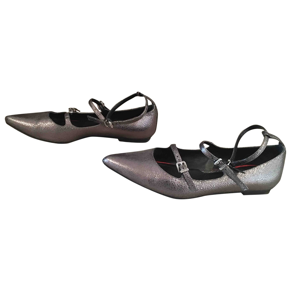 Max & Co \N Silver Leather Flats for Women 38 EU