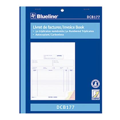 Blueline@ Blank Invoice Book Carbonless Copy - triplicate,8-1/2 x 11