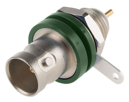 Telegartner Straight 75Ω Panel MountBulkhead Fitting BNC Connector, jack, Nickel, Solder Termination