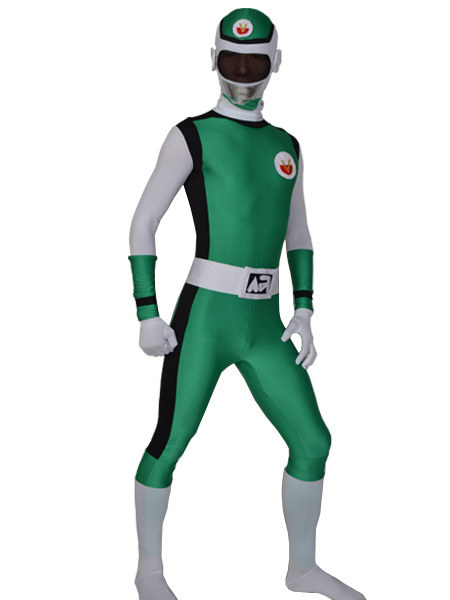 Milanoo Morph Suit Green Power Rangers Lycra Spandex Fabric Zentai Suit Unisex Full Body Suit