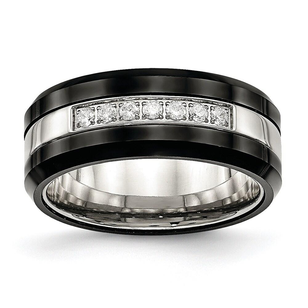 Chisel Stainless Steel Polished Black Ceramic CZ Beveled Edge Ring (10)