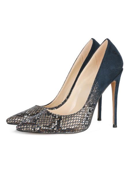 Milanoo Women\'s High Heels Pointed Toe Stiletto Heel Sexy Green Snakeskin Pirnt High Heel Pumps