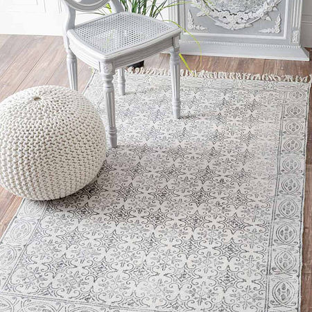nuLoom Hand Made Suzette Rug, One Size , White