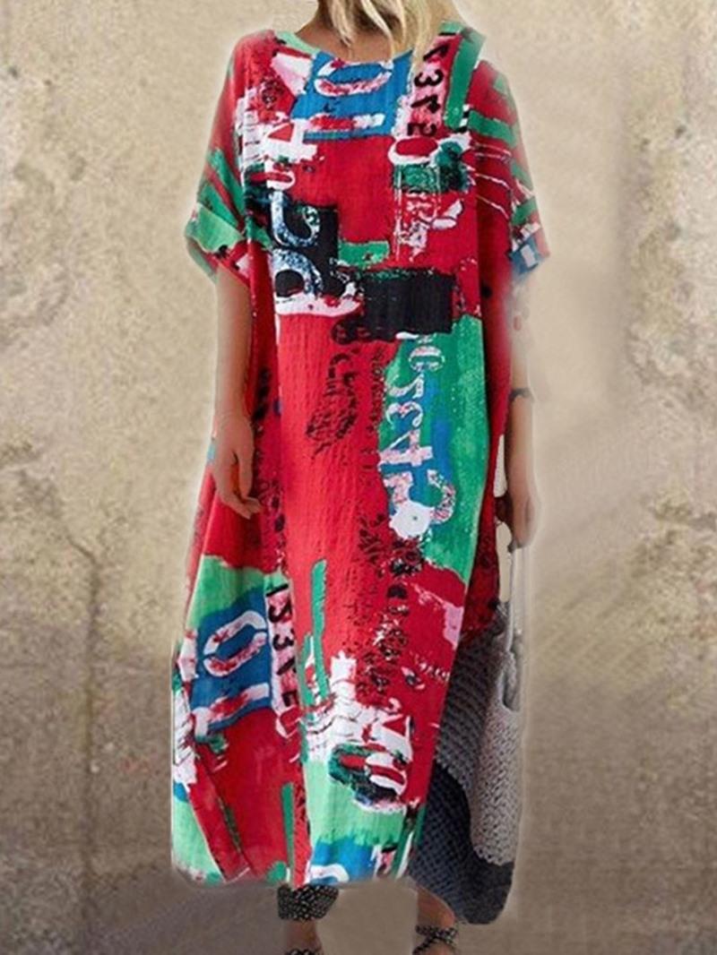 Ericdress Print Casual Mid-Calf Half Sleeve Number Straight Dress