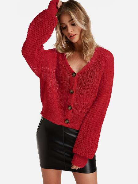 Yoins Red Button Design Long Sleeves Knit Cardigan