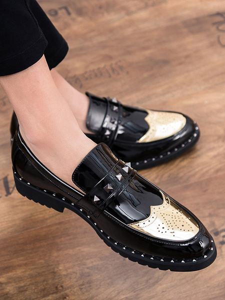 Milanoo Mens Gold and Black Loafers Slip On Shoes Round Toe Rivets Prom Shoes