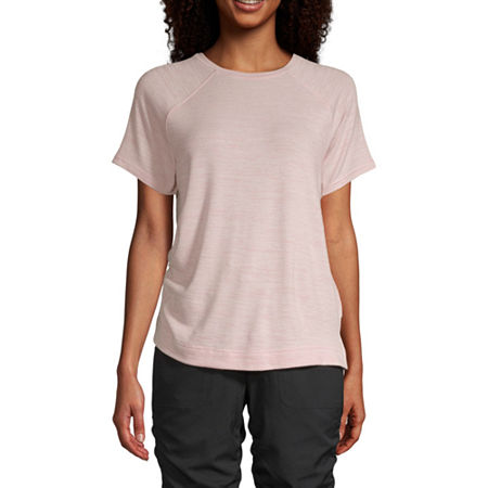 St. John's Bay-Womens Round Neck Short Sleeve T-Shirt, Petite X-large , Pink