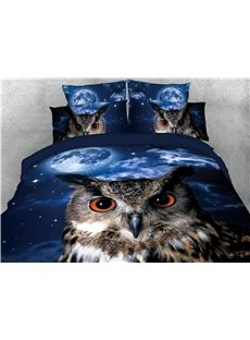 Night Owl and Sky Printed 4-Piece 3D Bedding Sets/Duvet Covers