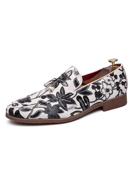 Milanoo Mens Loafer Shoes Slip-On Artwork Round Toe PU Leather Bohemian Shoes