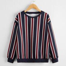 Boys Drop Shoulder Striped Pullover