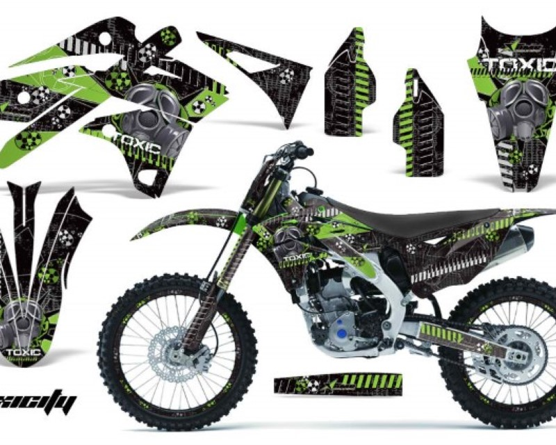 AMR Racing Graphics MX-NP-KAW-KX250F-13-16-TX G K Kit Decal Sticker Wrap + # Plates For Kawasaki KXF250 2013-2016áTOXIC GREEN BLACK