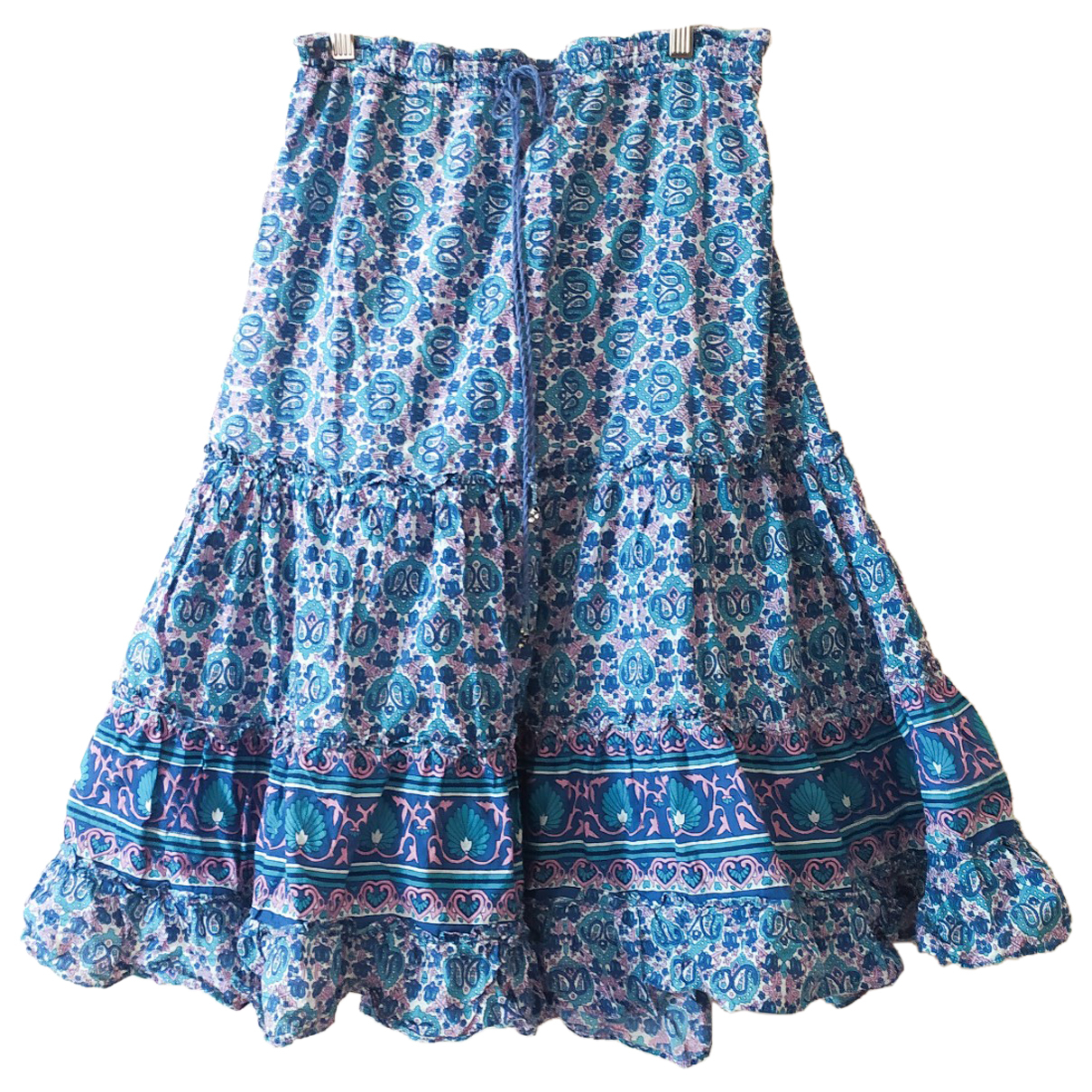 Non Signé / Unsigned Hippie Chic Blue Cotton skirt for Women 38 FR