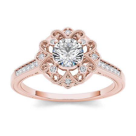 1/2 CT. T.W. Diamond 14K Rose Gold Engagement Ring, 7 1/2 , No Color Family