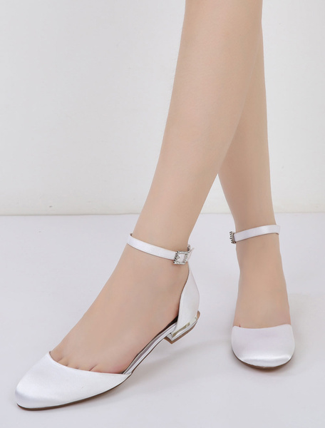 Milanoo Ivory Bridesmaid Shoes Satin Round Toe Ankle Strap Wedding Guest Shoes For Women
