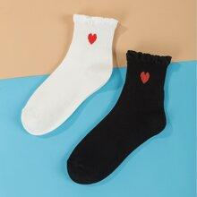 2pairs Heart Pattern Socks