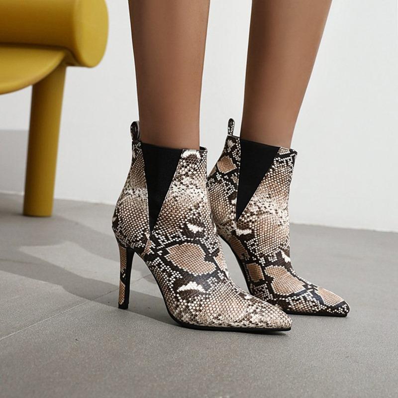 Ericdress Chunky Heel Slip-On Round Toe Serpentine Boots