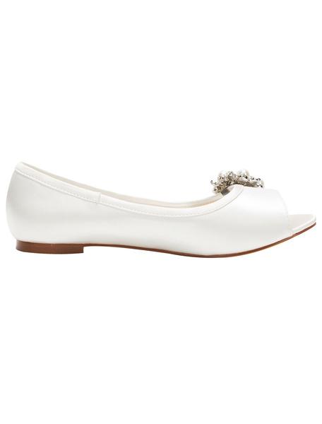 Milanoo Peep Wedding Shoes Ivory Flat Pumps Pearl Rhinestone Slip-on Bridal Shoes