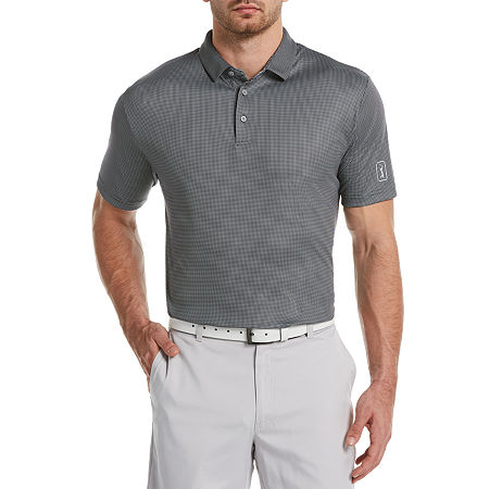 PGA TOUR Mens Short Sleeve Polo Shirt Big and Tall, 3x-large Tall , Black