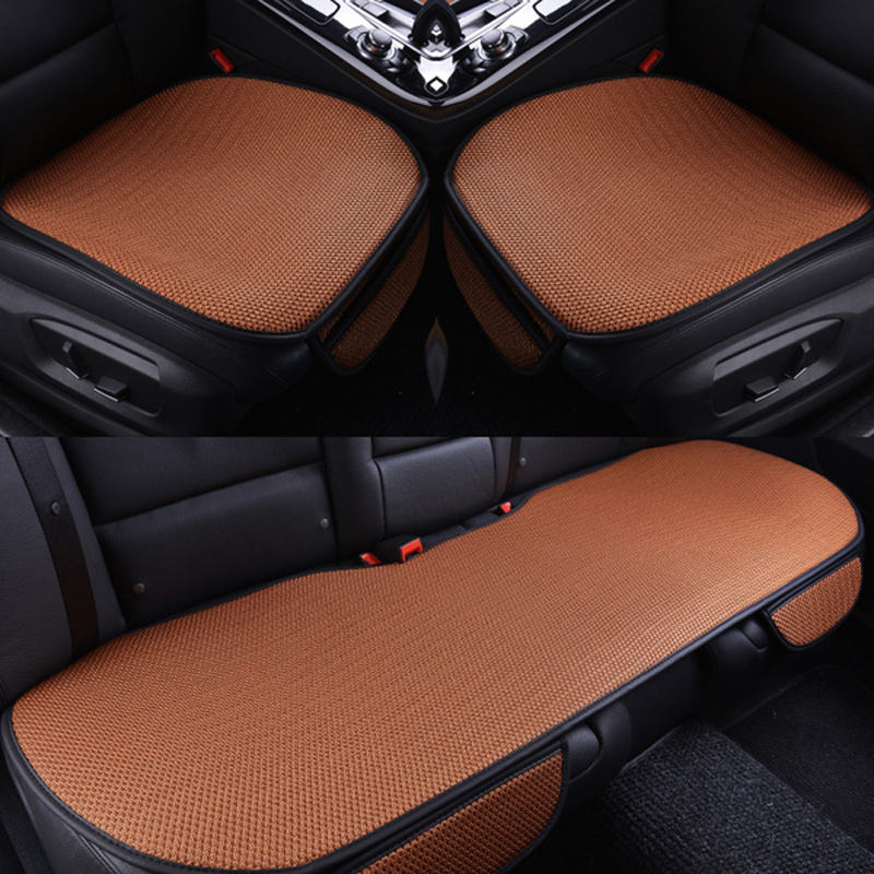 Solid Color Durable PET Material Good Breathability Universal 3-Pieces Five Car Seat Mat