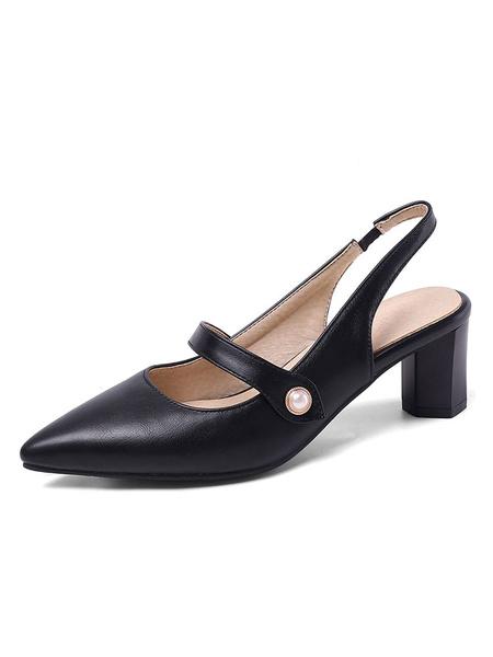 Milanoo Slingback Low Heels Pointed Toe Block Heel Pumps Women\'s Plus Size Shoes