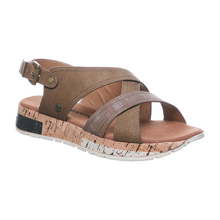 Bearpaw Womens Shelly Flat Sandals, 5 Medium, Brown