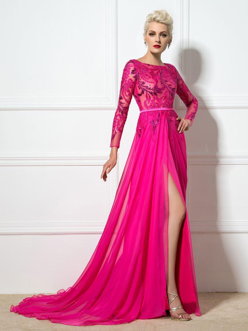 Ericdress Long Sleeve Side-Split Appliques Sequins Evening Dress
