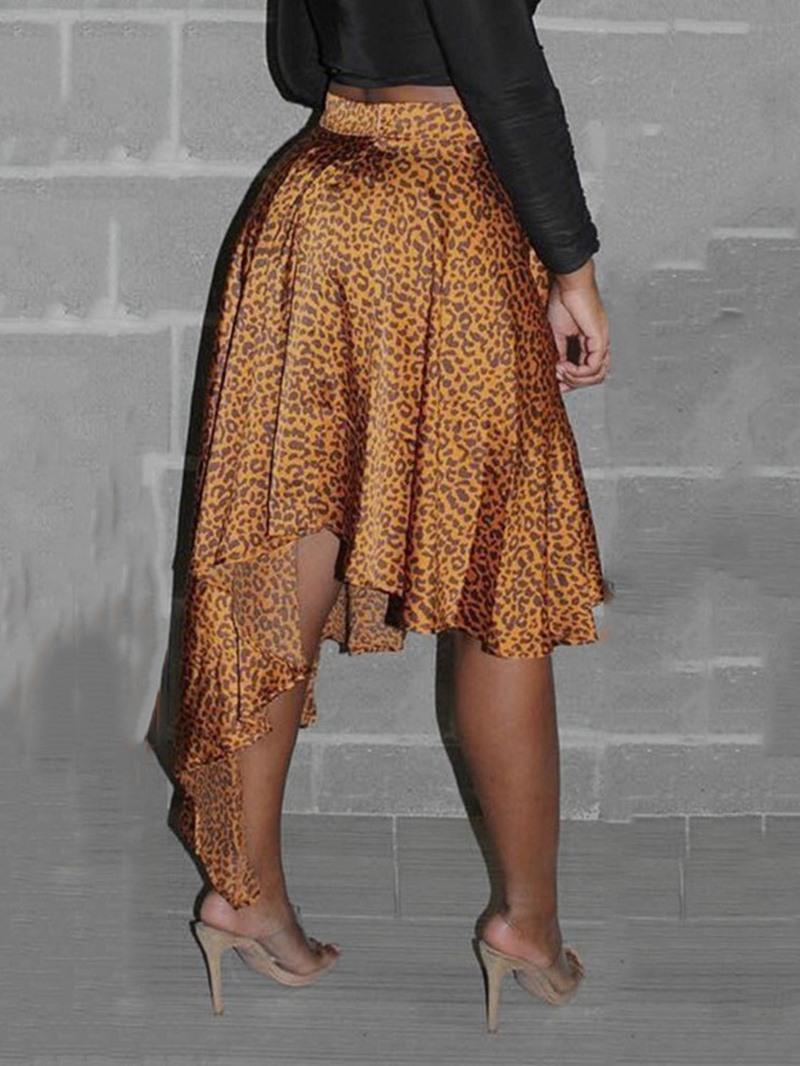 Ericdress Asymmetrical Print Mid-Calf Skirt