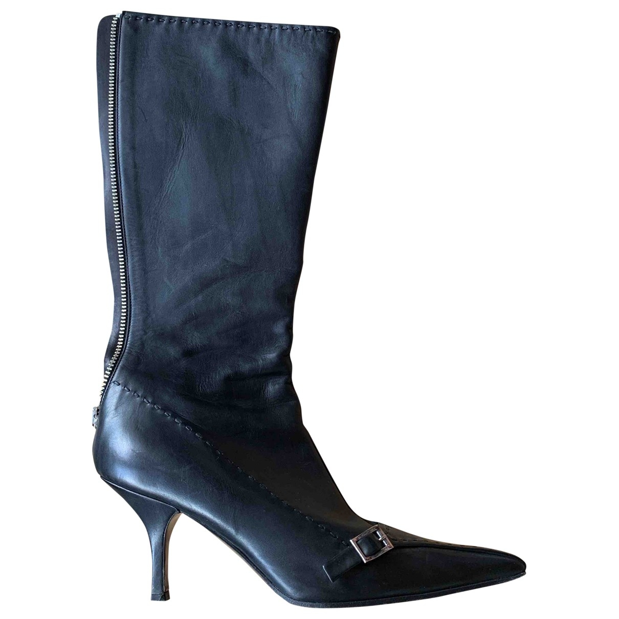 Prada \N Black Leather Boots for Women 38 EU