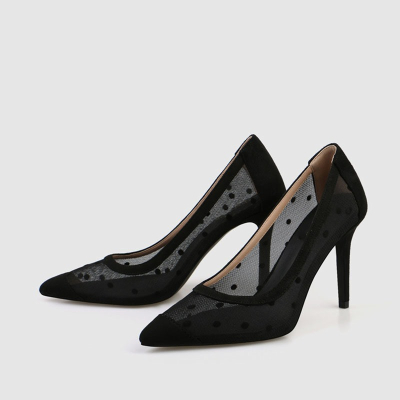 Ericdress Pointed Toe Slip-On Lace Low-Cut Upper Women's Pumps