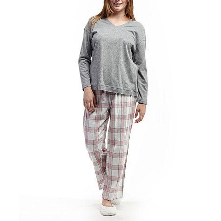 La Cera Checkered Flannel PJs, Large , Pink