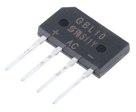 Taiwan Semiconductor GBL10 D2, Bridge Rectifier, 4A 1000V, 4-Pin GBL (5)
