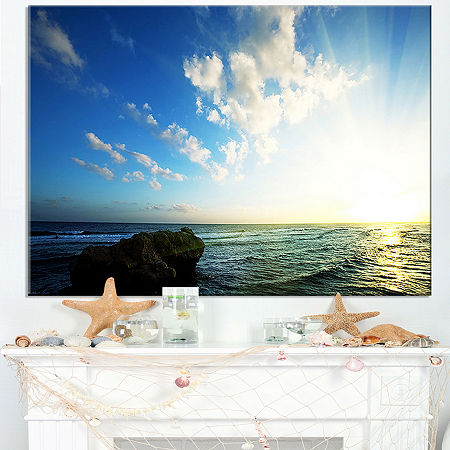 Designart Evening Sea With Calm Waters Canvas Art, One Size , Blue