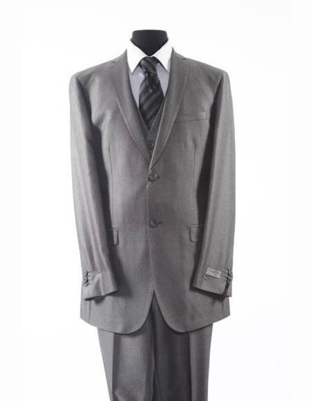 Tazio Brand Suit Men's Grey 2 Button Vested Suit