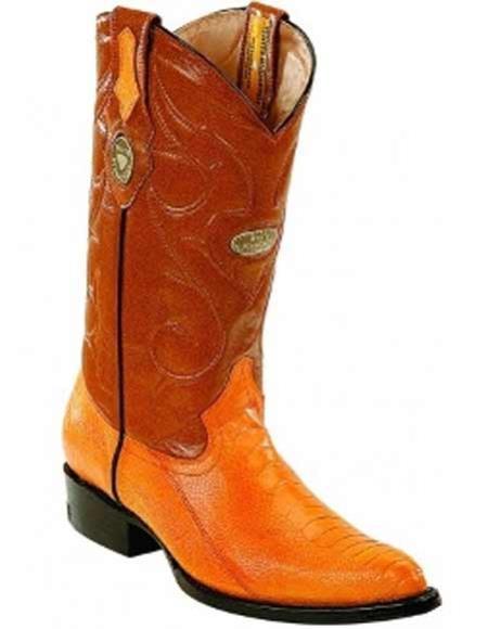Men's Ostrich Leg Skin Boots Leather Insole Handmade J Toe Buttercup