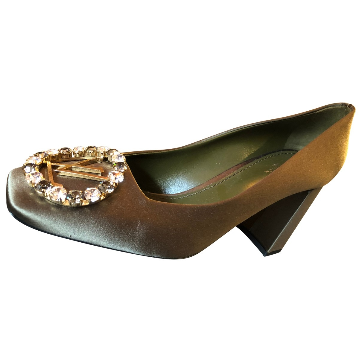 Louis Vuitton \N Khaki Leather Heels for Women 38.5 EU