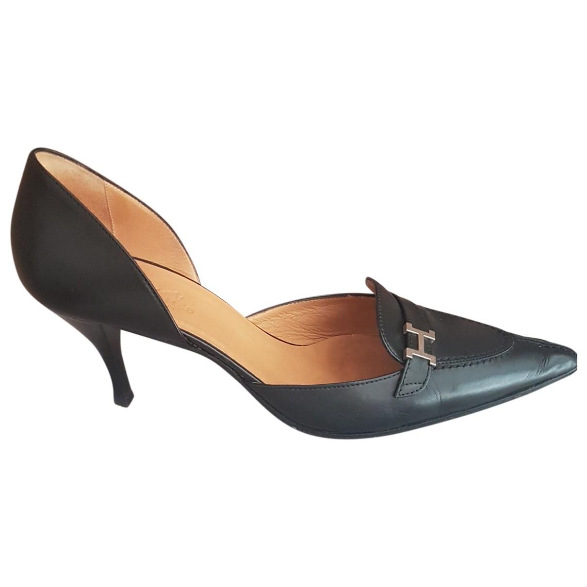 Hermès \N Black Leather Heels for Women 39 EU