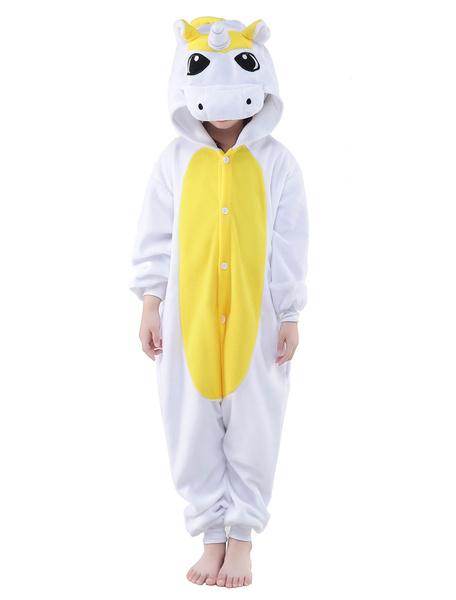 Milanoo Kigurumi Pajamas Licorne Unicorn Onesie Childrens Flannel Winter Sleepwear Mascot Animal Costume Halloween