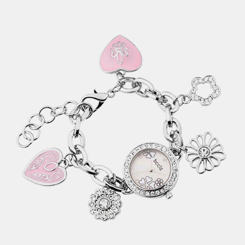 Cute Elegant Womens Watch Small Dial Heart-Shaped Flower Pendant Bracelets Quartz Watch