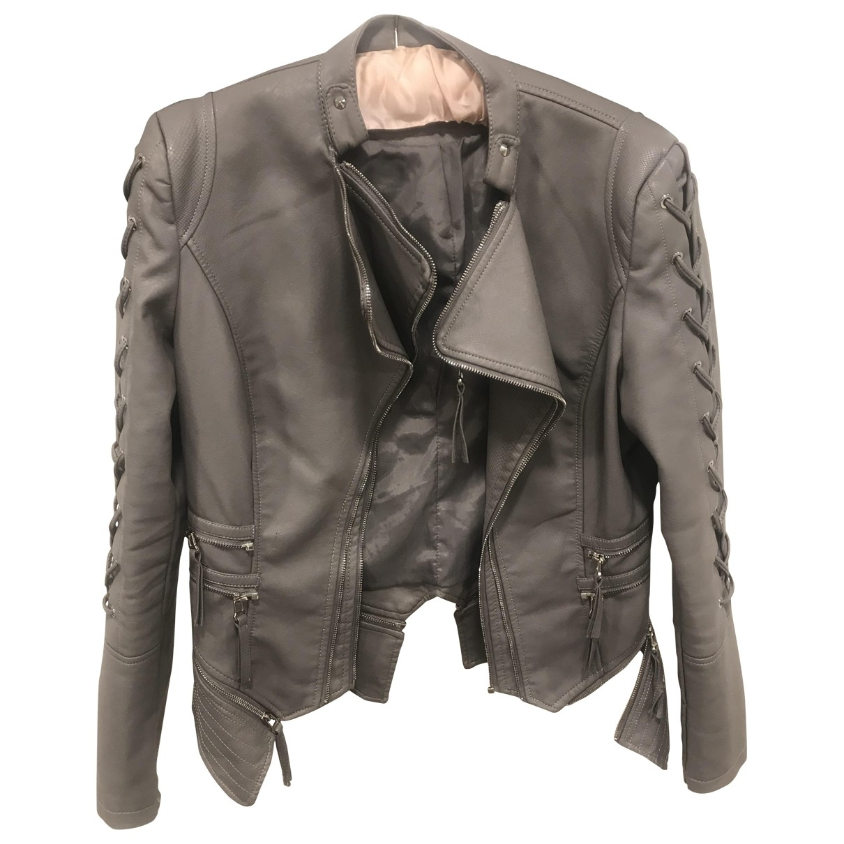 Non Signé / Unsigned \N Grey Leather jacket for Women 38 FR