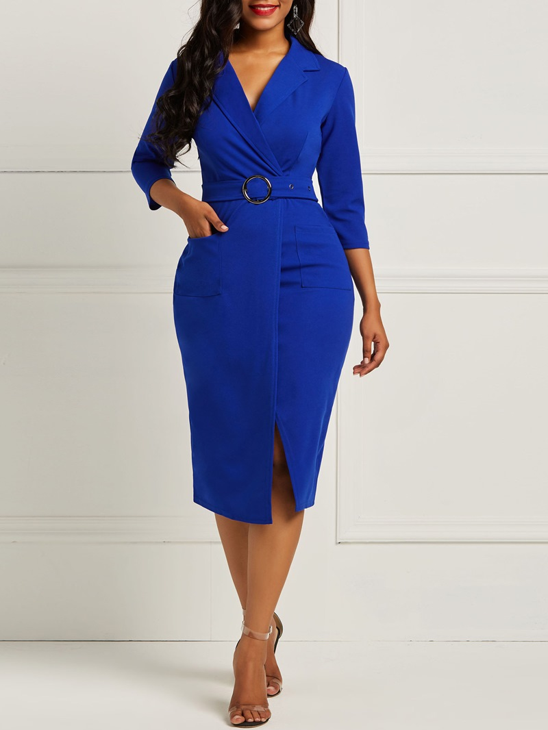 Ericdress Bodycon Half Sleeves Notched Lapel Women's Dress