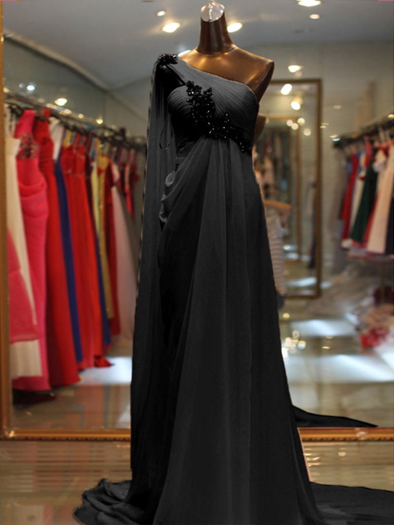 Ericdress One Shoulder Beading Pearl Pink Evening Dress
