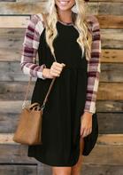 Plaid Splicing Ruffled Long Sleeve Casual Dress - Black