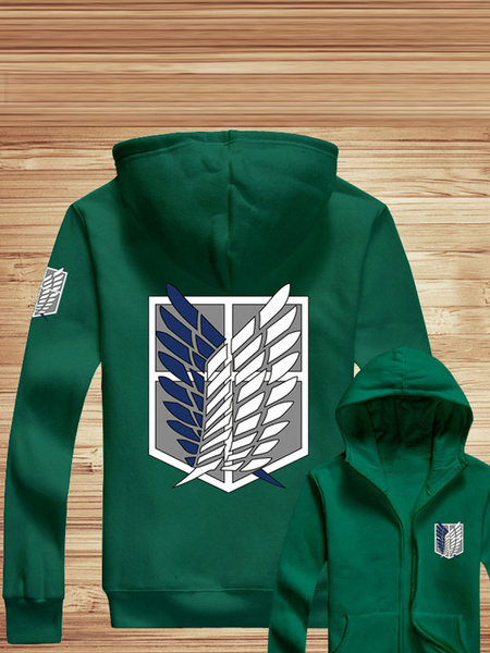 Milanoo Attack On Titan Anime Zipper Hooded Sweatshirt  Halloween