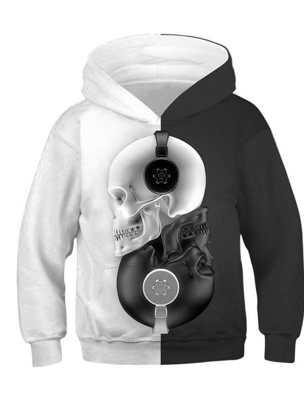 Long Sleeve Pullover Black and White Skull Hooded Kid's Hoodies