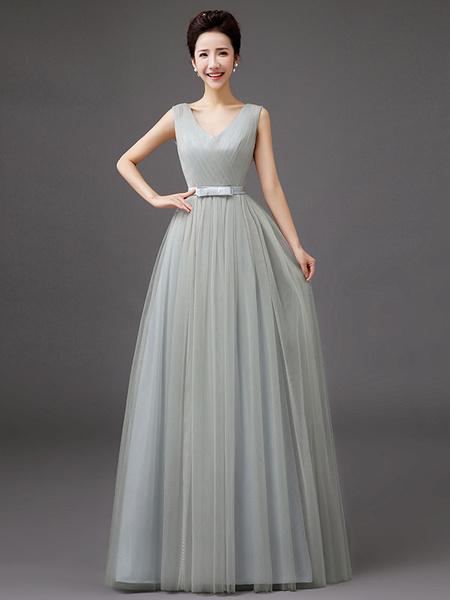 Milanoo Prom Dresses Long Tulle V Neck Sleeveless Bow Sash Floor Length Blue Bridesmaid Dress