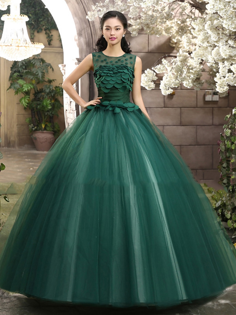 Ericdress Jewel Neck Appliques Ball Gown Quinceanera Dress
