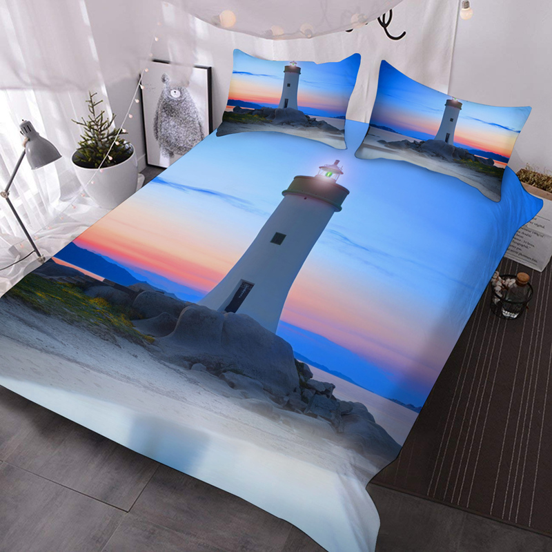Night Lighthouse 3D Lightweight Warm Colorfast/Wear-resistant Comforter Set 3 Piece Comforter Set with Pillow Shams