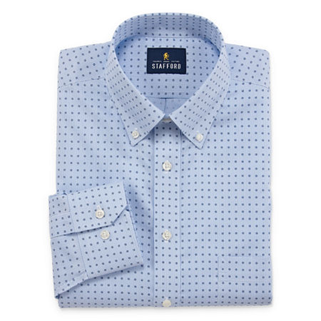 Stafford Mens Non-Iron Cotton Pinpoint Oxford Dress Shirt, 14.5 32-33, Blue