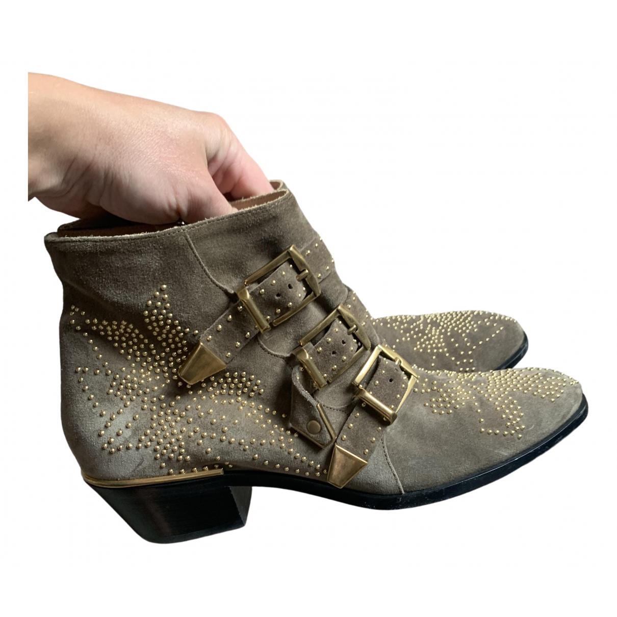 Chloé Susanna Beige Suede Ankle boots for Women 38.5 EU