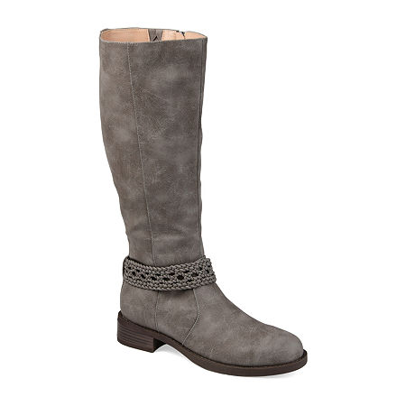 Journee Collection Womens Paisley Stacked Heel Riding Boots, 8 1/2 Medium, Gray